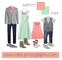 Salmon + Mint // summer and spring family photo outfit inspiration, created by… Family Picture Colors, Family Picture Outfits, Clothing Photography, Family Photography, Photography Outfits, Spring Family Pictures, Easter Pictures, Family Pics, Family Photos What To Wear