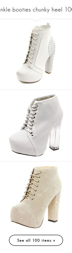 """""""ankle booties chunky heel 100"""" by kristie-miles ❤ liked on Polyvore featuring shoes, boots, ankle booties, heels, zapatos, high heels, white, lace up platform bootie, lace up ankle boots and lace up booties"""