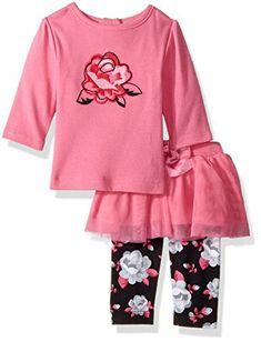 Gerber Baby Shirt and Tutu Legging Set, roses, 18 Months