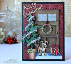 """A tutorial on how to create a woodgrain door from the Tim Holtz Window Box die set, a """"stained glass"""" window and dimensional Christmas Tree."""