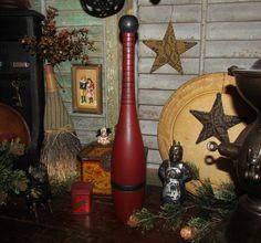 Primitive Rustic Antique Vtg Wooden 1 lb. Red Black Juggling Circus Bowling Pin #NaivePrimitive