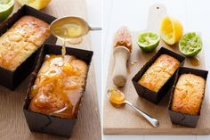 Syrupy limey drizzle cakes.