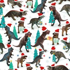 Dinos Christmas roll wrapping paper - 3 for 2 Christmas Wrapping Paper - Christmas Wrap - Christmas Shop Christmas Hat, Christmas Colors, Vintage Christmas, Christmas Ideas, Christmas Crafts, Charity Christmas Cards, Christmas Gift Wrapping, Christmas 2018 Trends, Xmas