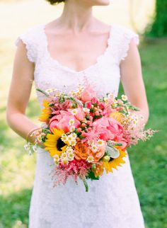 coral charm peony, sunflowers, bridal bouquet, bluemont vineyard wedding