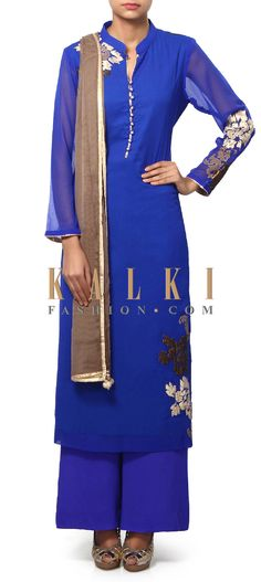 Buy Online from the link below. We ship worldwide (Free Shipping over US$100). Product SKU - 312183.Product Link - http://www.kalkifashion.com/royal-blue-suit-adorn-in-applique-embroidery-only-on-kalki.html