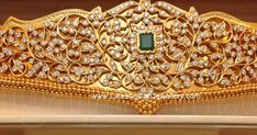 Latest diamond vaddanam design from Malabar gold and diamonds. The self design gold waist belt with fine diamond work on top with a changeable emerald Vanki Designs Jewellery, Vaddanam Designs, Jewelry Design Earrings, Gold Earrings Designs, Gold Jewellery Design, Bridal Jewellery, Diamond Jewelry, Gold Jewelry, Mughal Jewelry