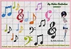 Music notes and symbols X-stitch patterns Cross Stitch Music, Tiny Cross Stitch, Cross Stitch Alphabet, Counted Cross Stitch Patterns, Cross Stitch Designs, Cross Stitch Embroidery, Crochet Music, Cross Stitch Collection, Canvas Patterns