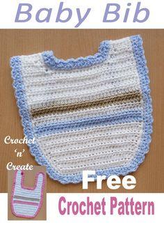 Baby Bib – A Free Crochet Pattern- Crochet 'n' Create Simple to crochet baby bib, suitable for boy or girl, … Crochet Baby Bibs, Crochet Baby Blanket Beginner, Crochet Baby Clothes, Crochet For Kids, Diy Crochet, Baby Knitting, Simple Crochet, Crochet Designs, Crochet Patterns