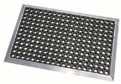 Fußmatte im Edelstahlrahmen mit Matte aus Gummiwabe
