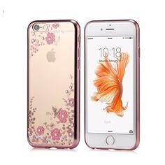 KISSCASE Luxury Rhinestone Soft TPU Case For iPhone 7 6 6s Plus 5 5s SE Samsung Galaxy S6 S7 Edge Flower Diamond Slim Back Cover