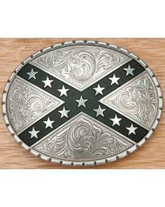 Nocona Silver Oval Rebel Belt Buckle 37922