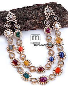 Navaratan Stone Set with Diamonds Pearl And Diamond Necklace, Diamond Jewelry, Gold Jewelry, Beaded Jewelry, Jewelery, Pearl Necklaces, Indian Wedding Jewelry, Bridal Jewelry, Indian Weddings