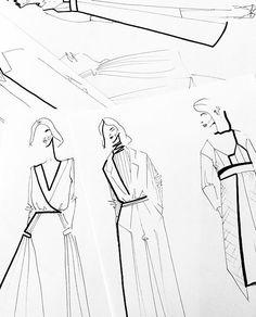 by Ana Herrera illustration Illustration Techniques, Illustration Mode, Fashion Illustration Sketches, Fashion Sketches, Dress Sketches, Design Illustrations, Fashion Design Sketchbook, Fashion Design Portfolio, Fashion Design Drawings