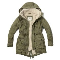 Abercrombie & Fitch Sherpa Lined Twill Parka Green Parka Coat, Parka Outfit, Faux Shearling Coat, Cool Coats, Outfits Hombre, V Bts Wallpaper, Womens Parka, Sherpa Lined, Outerwear Women