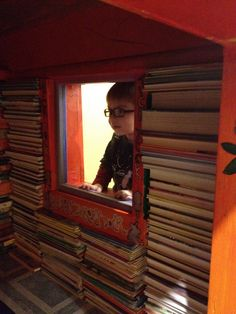 A children's book house...I must have one of these at my house!