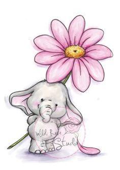 Illustration - Wild Rose Studio Clear Stamp Set - Bella with Daisy Elephant Love, Elephant Art, Elephant Tattoos, Cute Elephant Drawing, Animal Drawings, Cute Drawings, Baby Elefant, Art Mignon, Illustration Art
