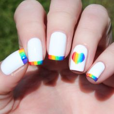 nails Nails Celebrate Pride Month with These Rainbow Nail Art Designs Hair Regrowth Formula Cute Nail Art, Cute Nails, Pretty Nails, My Nails, Glitter Nails, Rainbow Nail Art Designs, Acrylic Nail Designs, Short Nail Designs, Cute Nail Designs