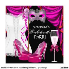 Bachelorette Party Hot Pink Masquerade Champagne Card