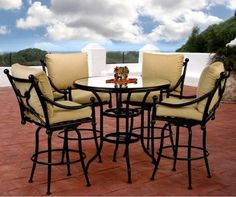 Caluco Origin Bar Height Patio Dining Set - Seats 4 traditional patio furniture and outdoor furniture