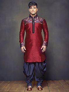 Plain Printed Maroon Raw Silk Festive Wear Men Kurta Suit