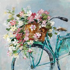 The Flowers in Basket Embellished Canvas will add instant, gallery-quality style to your space. This piece will remind you of a simpler time, featuring beautifully colored flowers in a bicycle basket. Hand-embellished to add texture. Bicycle Painting, Bicycle Art, Bicycle Basket, Bicycle Crafts, Bicycle Design, Texture Drawing, Drawing Drawing, Small Canvas Art, Oil Painting Flowers