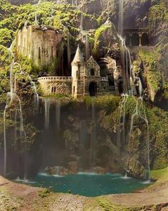 """One of the """"water fall castles"""".  Do you think it's real? a miniature? or a really good photoshop?  Answer in the comments below."""