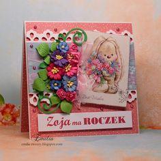 Zoja ma roczek/Kartka na roczek dla dziewczynki/Birthday card