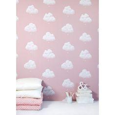 Bartsch Childrens Wallpaper: Cotton Clouds in Pink by Bartsch Wallpaper