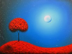 ORIGINAL Painting, Oil Painting, Contemporary Art Surreal Painting Tree Art, Red Tree Painting, Abstract Landscape Painting, Night, 18x24 by BingArt on Etsy