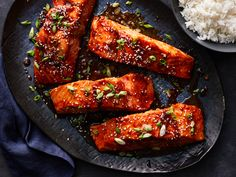 "Bourbon-Glazed Salmon - ""I created this recipe after tasting the bourbon salmon from my local grocery seafood counter. Baked Teriyaki Salmon, Baked Salmon Recipes, Fish Recipes, Seafood Recipes, Dinner Recipes, Cooking Recipes, Healthy Recipes, Cooking Fish, Healthy Lunches"