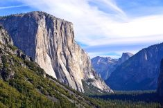 Tunnel View with El Capitan and Half Dome stock photo