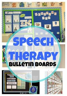 Speech Therapy Bulletin Boards-Functional ways to use space in your speech room. Repinned by myPTsolutions.  Follow us at pinterest.com/myptsolutions
