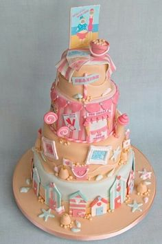 Cute beach-themed cake (Am looking for the creator of this cake. Please leave a comment if you know who it is. Thanks!)