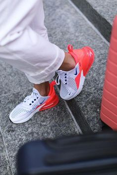 brand new 4af6e 20824 Bold and stylish, meet the new Nike Air Max 270 Flyknit Women s Shoe in  blue, white and red. Top new nike sneakers for