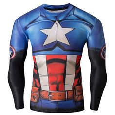 3D America Captain Print Skinny Round Neck Long Sleeves Quick-Dry Long Sleeves Superhero T-Shirt For Men