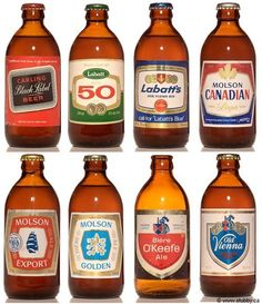 My parents didn't drink beer.but my uncle did. Labatt and Molson were the most popular brands. The smell (and subsequent trial taste) were, in my opinion, awful. But I'll forever remember the stubby bottled beer and the brand logos. Canadian Beer, Canadian Things, I Am Canadian, Canadian History, Easy Rider, Quebec, American Beer, Canada Day, My Childhood Memories