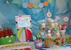 hostess with the mostess pool party Pool Party Themes, Pool Party Kids, Summer Pool Party, Water Party, Birthday Party Themes, Beach Party, Birthday Ideas, Birthday Celebration, Diy Party
