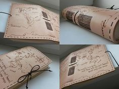 Cestovateľský denník / Kožený zápisník A5 pre cestovateľa / Kožený obal s mapou sveta / pyrography / handmade bookbindnig / leather journal / travel book / http://www.ardeas.sk/