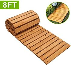 New Reliancer Wooden Garden Pathway Weather-resistant Straight Walkway Roll Out Cedar Outdoor Patio Path Rustic Decorative Garden Boardwalk Walkways Roll Up Beach Wood Road Floor Wedding Party Pathways online - Looknewclothingshop