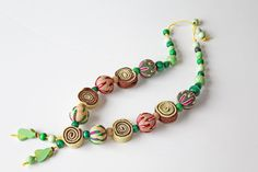 Felt Necklace. Wooden beads jewelry .Eco friendly by HandMadeVinga