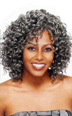 Gray Grey Silver Vanessa Medium Curly Gypsy Wig Oprah 2
