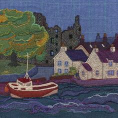 Kirkcudbright Harbour. Needle felted Harris Tweed painting  by textile artist Jane Jackson. Image available as a greetings card & giclee print in 2 sizes from www.brightseedtextiles.com. All with free UK postage & packing.