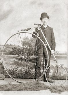 E.C. Pendy with his bicycle in Fort Worth circa 1895. Courtesy UT-Arlington
