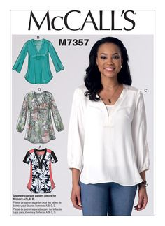 MCCALL/'S PATTERN TOP TUNIC LOOSE FIT 3 DESIGNS SIZE XS-S-M or  L-XL-XXL # M7437