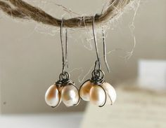 Black and White  Pearl EARRINGS Sterling silver wire by YLOjewelry, $28.00