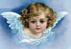 Angel Cotton Fabric Block Cherub with Wings Blue - Repro Clapsaddle, via Etsy.