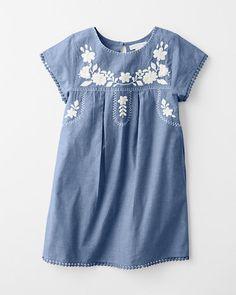 Jolie Embroidered Cotton Dress - Girls