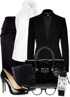 """""""Business Class ~Chic Black~"""" by gangdise on Polyvore  Makes me miss my days at SAKS"""