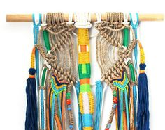 JOPU wall hanging unique boho macrame with tassels and knots on natural jute and cotton FREE SHIPPING