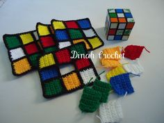 Dinah's Crochet Stuff©: Crochet Rubik's Cube Tissue Box Cover HAHA this is cool! Crochet Wool, Crochet Blocks, Crochet Gifts, Cute Crochet, Easy Crochet, Crochet Stitches, Tutorial Crochet, Tissue Box Covers, Tissue Boxes